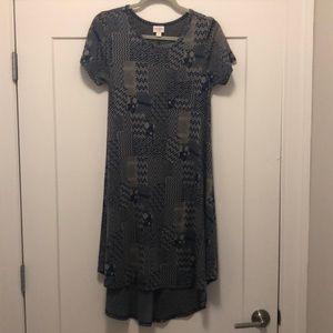 Lularoe Carly Dress in blue/tan geometric